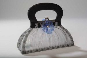 """Draped Handbag"" Grey with Blue Flowers"